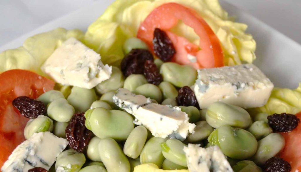 Receta de ensalada de habas y queso azul - recetas con queso - recetas de ensaladas - recetas realfooding o real food
