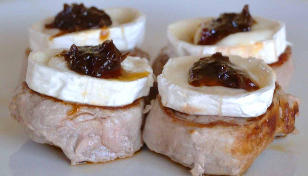Receta de medallones de cerdo con queso de cabra y mermelada - recetas con queso - recetas de cerdo - recetas realfooding o real food